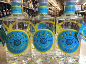 Bottles of Malfy Gin at Elma Wine & Liquor